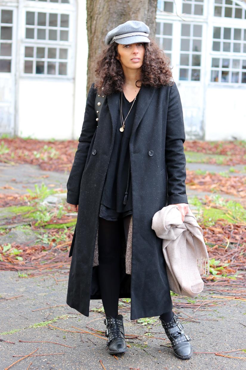 manteau long noir look