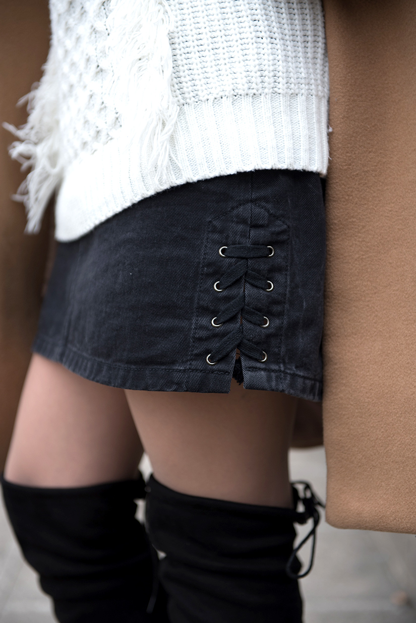 detail jupe en jeans lace up