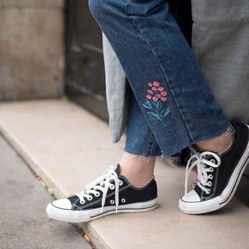 DIY : Le jean fleurs brodés