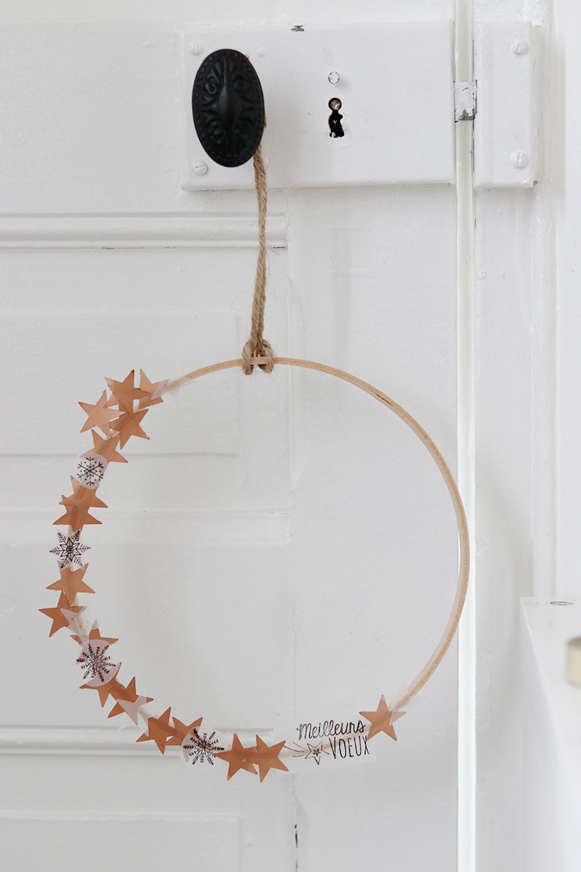 couronne de noel cuivre minimaliste diy