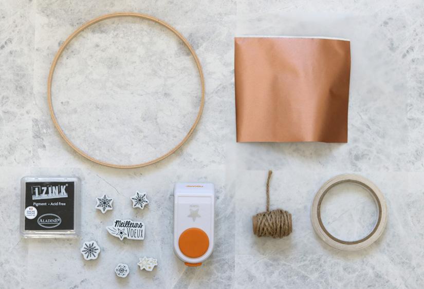 materiel courronne de noel cuivre et calque