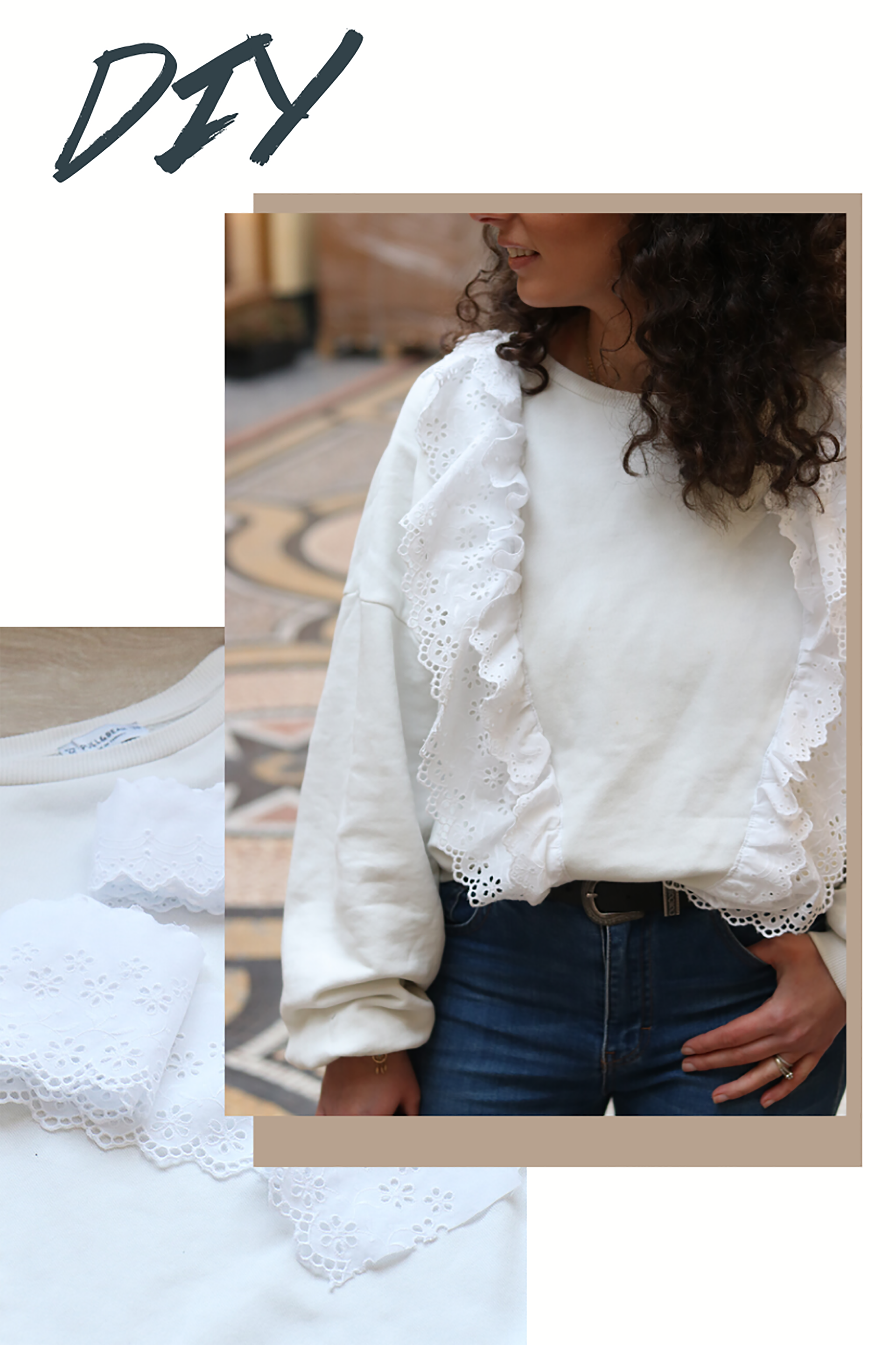 sweat en dentelle customisee diy